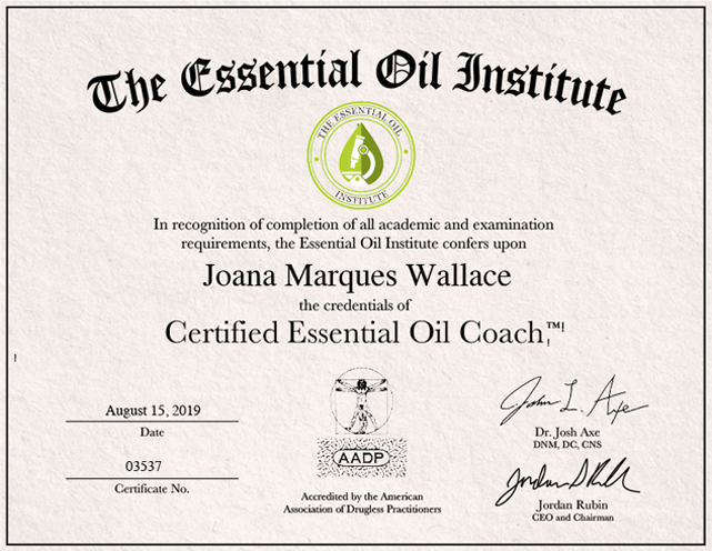 the Essential Oil Institute Certificate - Joana Marques Wallace